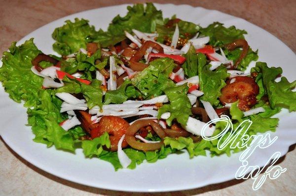Салат с морепродуктами рецепт без майонеза с фото