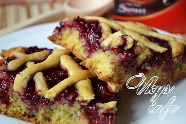 Пирог открытый с вишней рецепт с фото пошагово