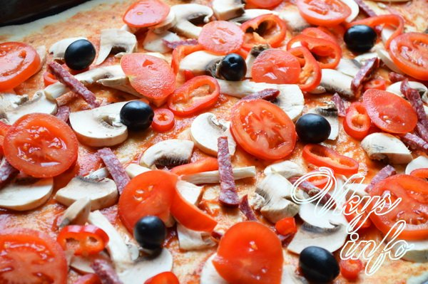 Пицца с колбасой грибами помидорами и сыром рецепт