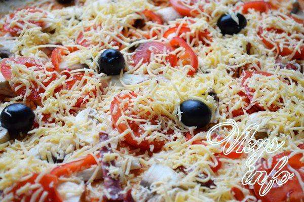 Пицца с шампиньонами и курицей рецепты