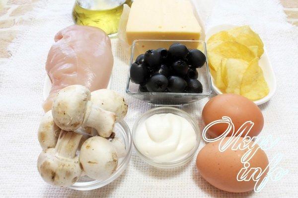Салат Подсолнух с курицей рецепт фото ингредиенты