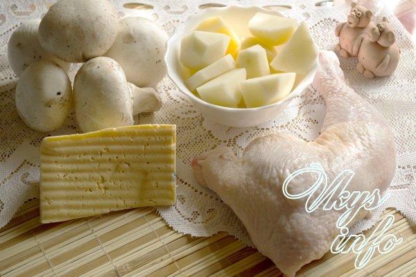Запеканка из картофельного пюре с грибами и курицей фото ингредиенты