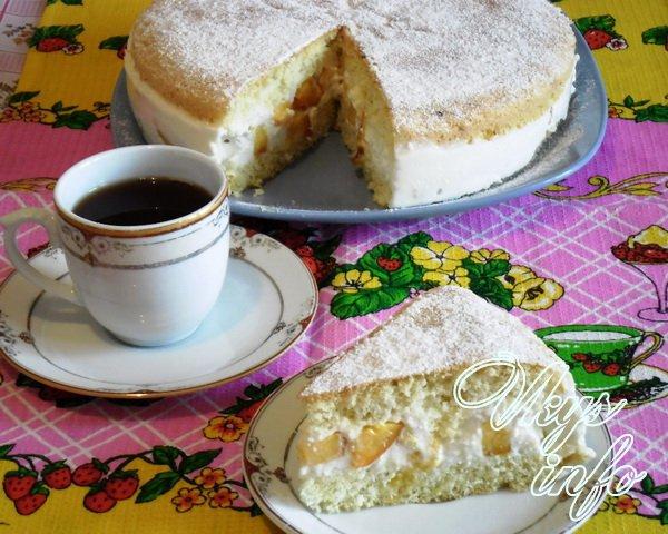 бисквитный торт с творожным кремом рецепт фото