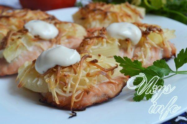 отбивные с сыром и ананасами в духовке рецепт с фото