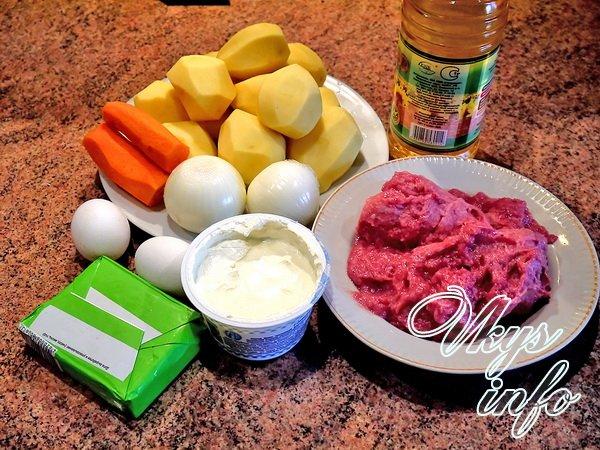Картофельный рулет с мясным фаршем фото ингредиенты