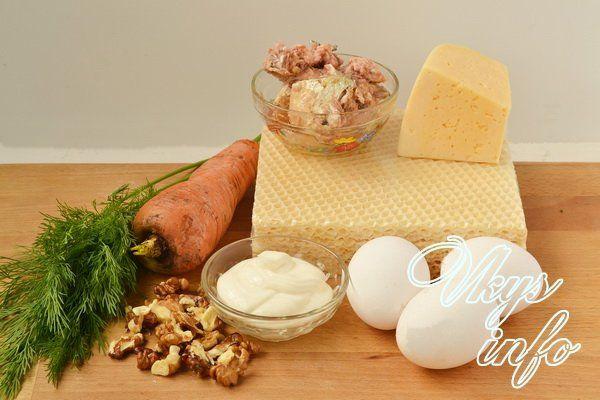 Закусочный торт из вафельных коржей с консервами фото ингредиенты