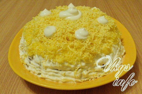 салат рецепт с сайрой и сыром фото