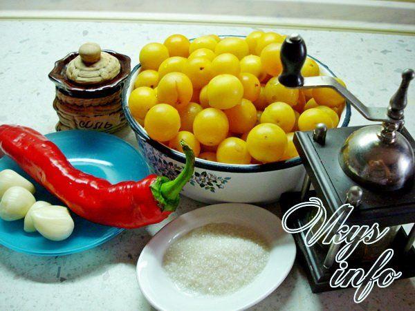 Рецепт соуса ткемали из алычи на зиму фото ингредиенты