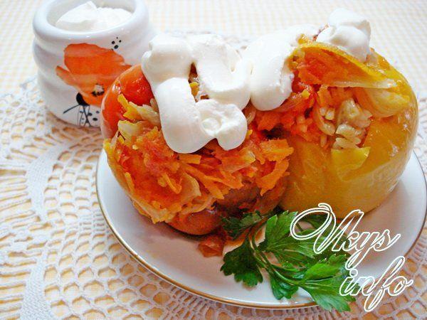 Рецепт фаршированных перцев с рисом и грибами