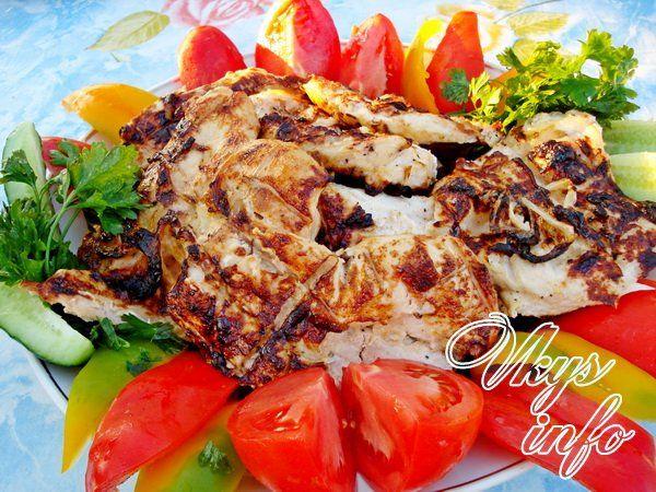 рецепт Шашлык из курицы в майонезе на решетке