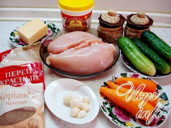 салат из курицей и корейской морковкой рецепт с фото