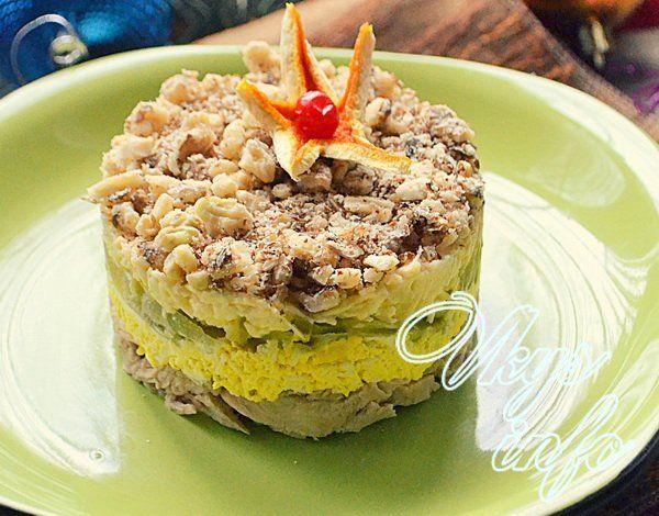 рецепт салата с гранатом и грибами