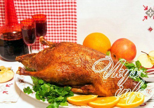 рецепт утки фаршированной гречкой и яблоками в духовке