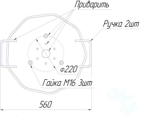 Сковорода из диска чертеж