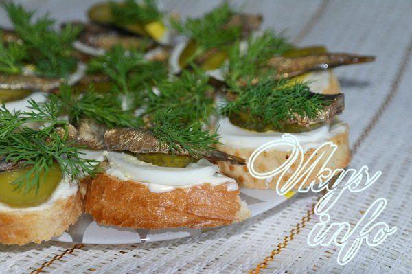 рецепт Бутерброды со шпротами и соленым огурцом