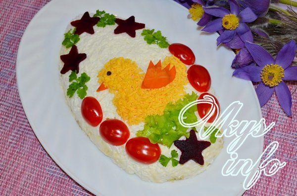 рецепт Пасхальный салат с курицей «Цыпленок»
