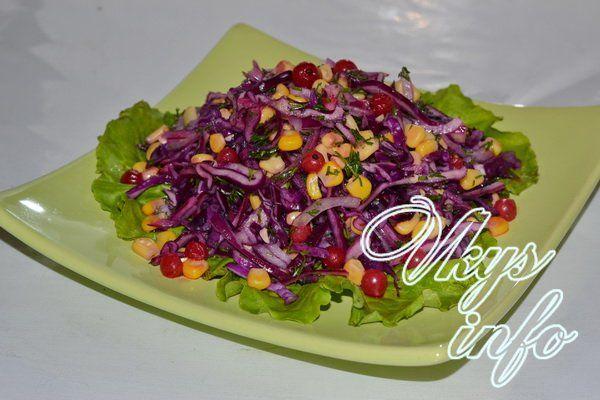 Рецепт мясного салата скраснокачанной капустой