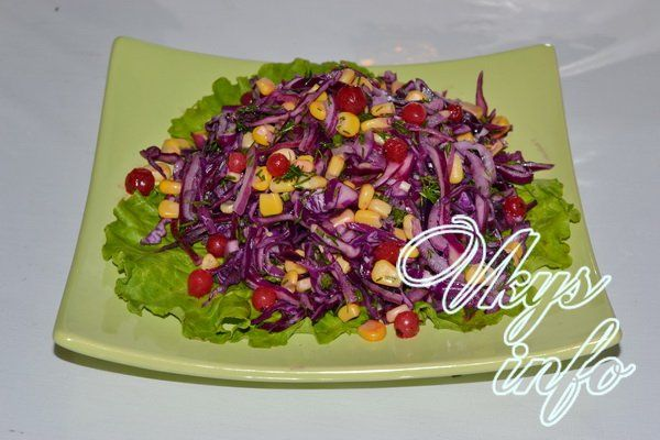 Салат из красной капуста кукуруза