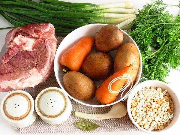 Гороховый суп в мультиварке фото ингредиенты