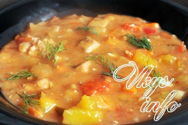 гуляш из свинины с подливкой рецепт с овощами