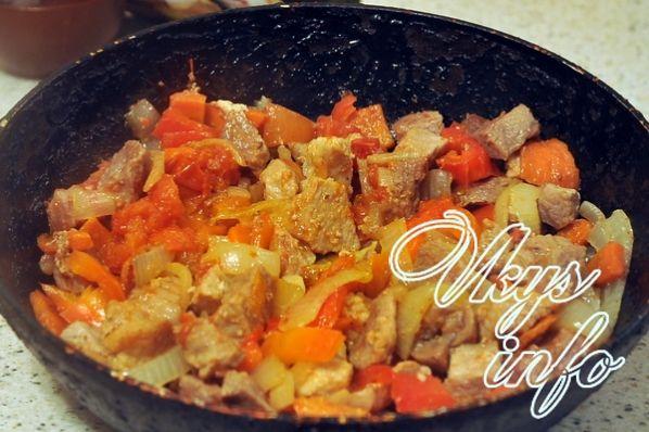 Рецепт гуляша с овощами