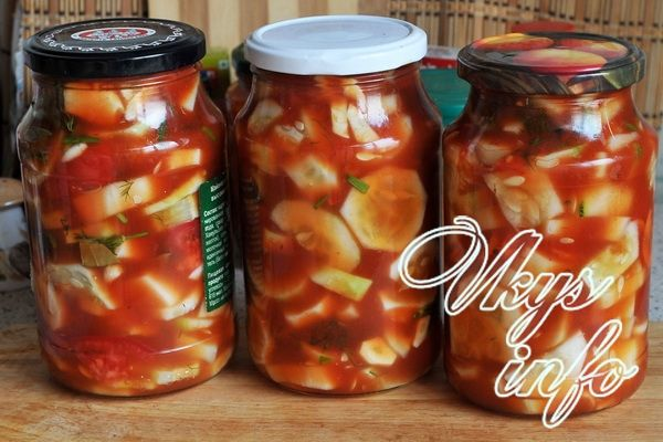Огурцы в томатной заливке на зиму пошагово с
