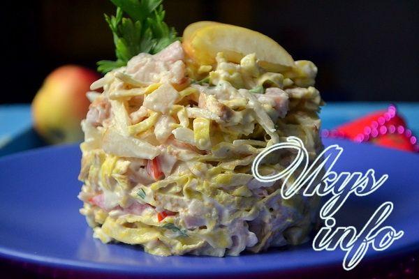 Блинный салат с копченой курицей рецепт