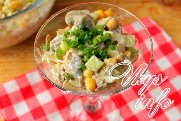 салат удовольствие с курицей и грибами рецепт