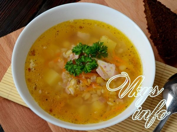 рецепт Гороховый суп с копченой курицей