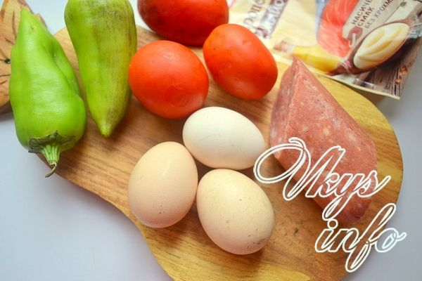 рецепт блинного из яиц салата