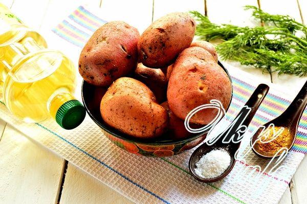 картошка по деревенски в духовке без кожуры