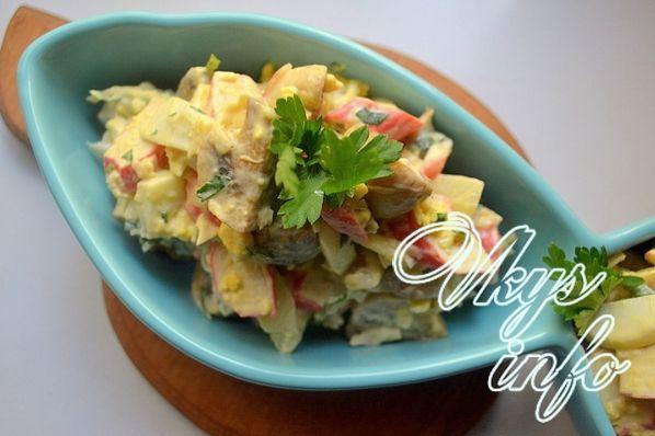 салат с грибами и крабовыми палочками рецепт слоями с