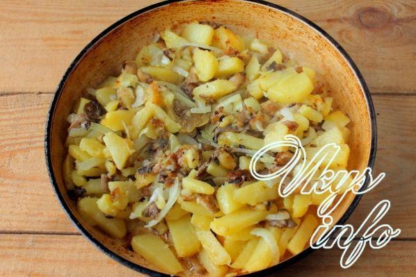 Жареный картофель с вешенками рецепт