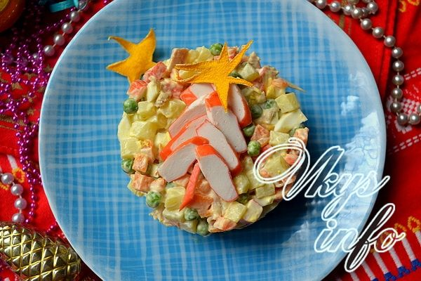салат звезда рецепт с фото с крабовыми