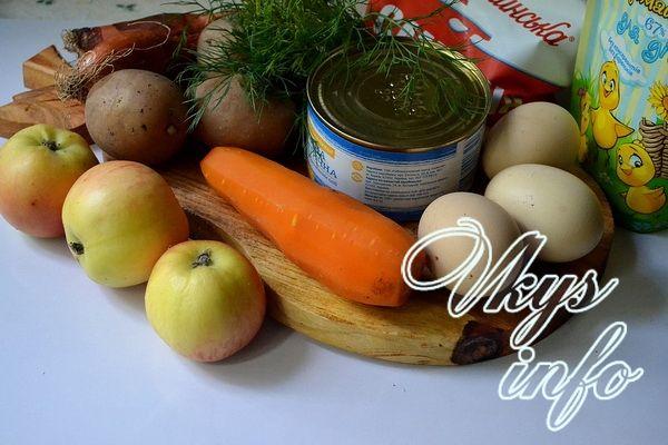 Салат «Мимоза» с консервой сайрой фото ингредиенты