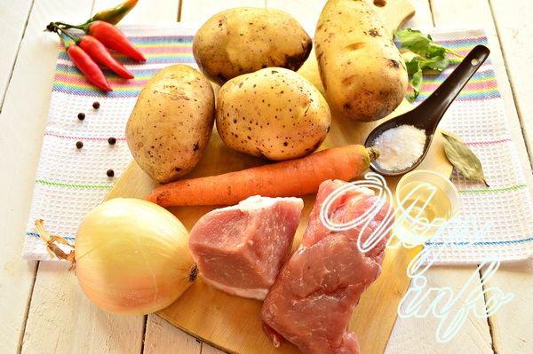 Тушеная картошка с мясом в кастрюле фото ингредиенты