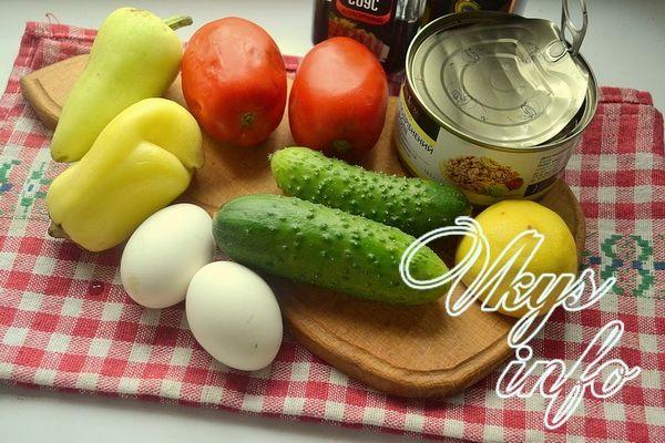 Диетический салат с тунцом фото ингредиенты