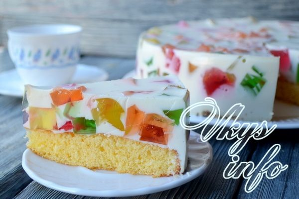 рецепт Желейный торт «Битое стекло»