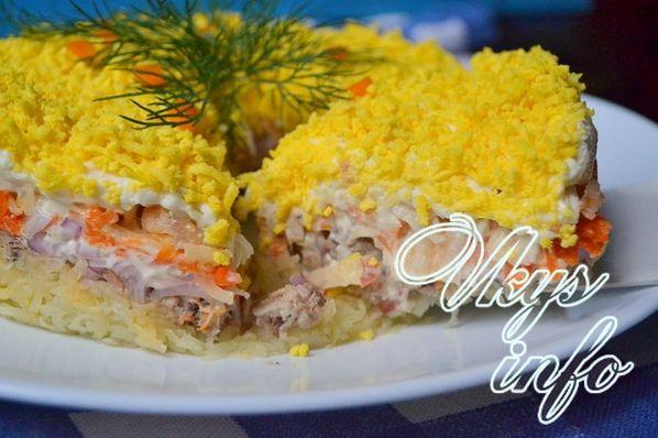 Салат мимоза с рисом с сайрой классический рецепт