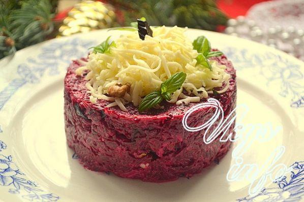 рецепты салатов со свеклой и орехами