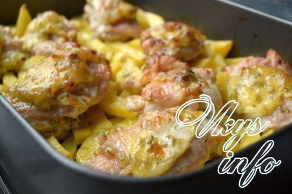 рецепт бедра курицы с картошкой в духовке рецепт