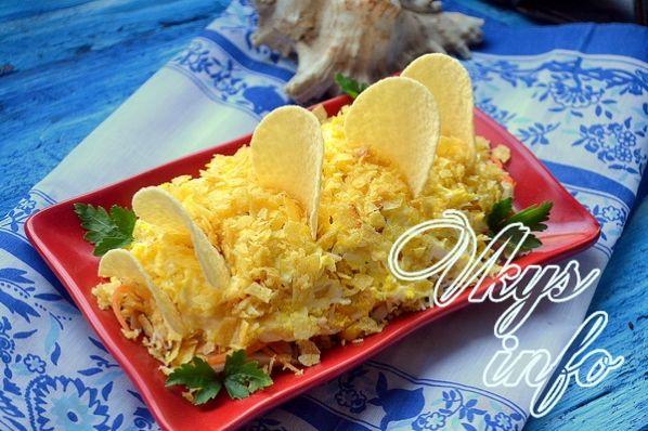 Салат парус с чипсами картофелем рецепт с пошагово 77