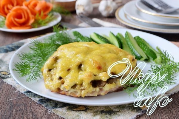 рецепт с грибами и сыром и курицей в духовке