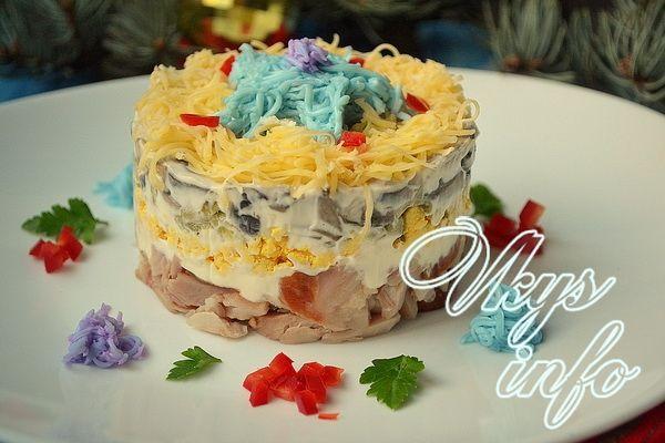 рецепт салат с копченой курицей и с грибами