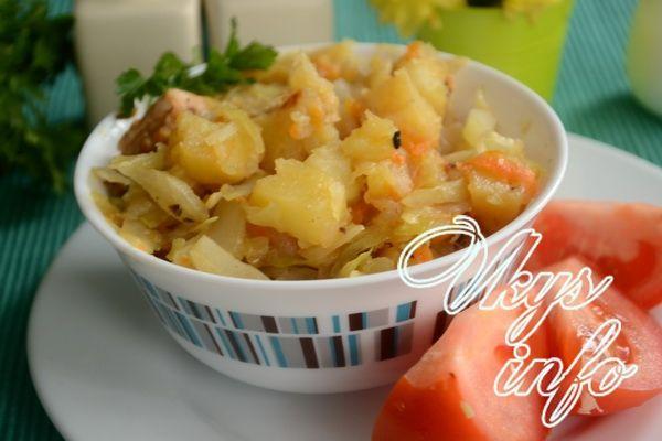 капуста тушеная с картошкой и курицей в мультиварке рецепт с фото