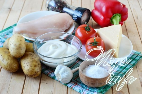 Запеканка из курицы с картошкой в духовке фото ингредиенты