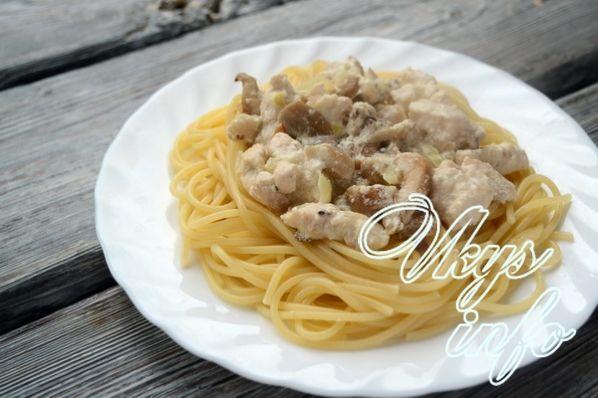 Макароны с грибами в сливочном соусе с курицей и грибами рецепт