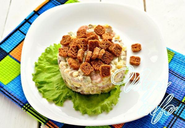 salat s kuricej gribami i fasol 10
