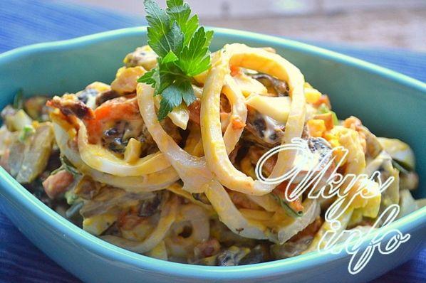 Слоеный салат с кальмарами самый вкусный пошаговый рецепт