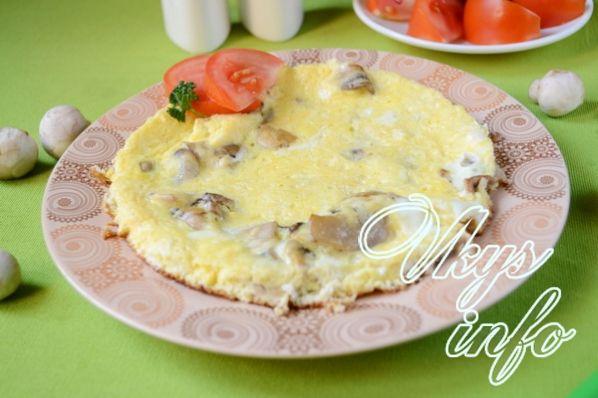 Омлет с грибами и сыром на сковороде рецепт
